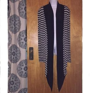 Black & Gray Striped Hourglass Lilly Waterfall Top